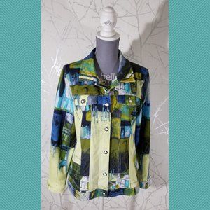 Dolcezza Abstract Print Button Front Light Jacket